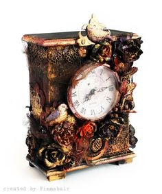 Altered clock by Anna Dabrowska for Prima using resins and Prima flowers