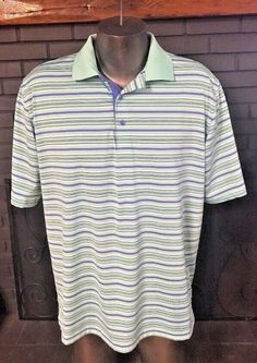 2177929d6c24 Peter Millar Summer Comfort Polo Shirt Purple Sea Foam Green Men s Size  Large