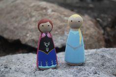 Peg Dolls  Anna & Elsa Sister Set by kellilyn1 on Etsy