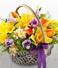Spring Time Basket - a bright and delicately fragrant spring flower basket featuring fressias, tulips, daffodils and sweet william. Basket Flower Arrangements, Beautiful Flower Arrangements, Floral Arrangements, Beautiful Flowers, Easter Flowers, Spring Flowers, Flower Basket, Flower Pots, Cemetery Flowers
