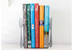This Is A Cool Way For Him To Display His Library Of Best Sellers Knife And Fork Bookends Birthday Gifts Cancer Men