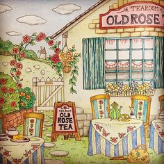 Instagram media miki_colours - Old rose cafe #romanticcountry #cocot #adultcoloring #adultcoloringbook #boracolorirtop #colors #coloringbook #coloriage #rose #ロマンティックカントリー #eriy #大人のぬり絵 #コロリアージュ #ぬりえ #fabercastell #colorpencil