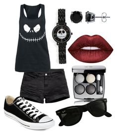 """summer jack"" by zombiebarbie1333 on Polyvore featuring H&M, Torrid, BERRICLE, Converse, Lime Crime, Chanel and Ray-Ban"