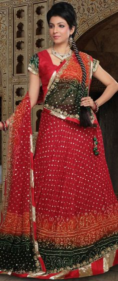 #Red and Multicolor Pure #Silk Bandhej #Lehenga Choli with Dupatta @ $167.51 | Shop @ http://www.utsavfashion.com/store/sarees-large.aspx?icode=ljn491