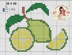Cozinha Cross Stitch Fruit, Mini Cross Stitch, Cross Stitch Flowers, Diy Embroidery, Cross Stitch Embroidery, Cross Stitch Patterns, Broderie Simple, Cross Stitch Collection, Crochet Food
