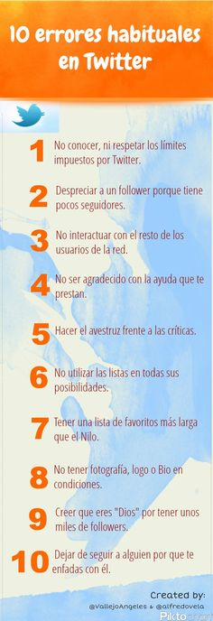 10 errores habituales en Twitter... #SocialMediaOP #SocialMedia #RedesSociales