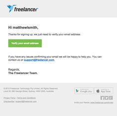 @freelancercom  sent this email with the subject line: Complete your Freelancer registration with one click! - After signing up for Freelancer I'm given a standard but also nice verification email that helps me take quick action. Even if this were written in a different language I would know what to do. Read about this email and find more verification emails at ReallyGoodEmails.com #app #transactional #verification