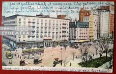 Postcard, New York City, Fifth Avenue, Madison Square, 1906, trolly, horse drawn carriage, cityscape