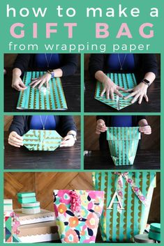 How to make a gift bag from wrapping paper. Kaleidoscope Living Never buy pre-made gift bags again! Learn how to make a gift bag from wrapping paper. It's easy and PERFECT for oddly shaped items! Paper Gift Bags, Paper Gifts, Paper Paper, Paper Toys, Homemade Gift Bags, How To Make A Gift Bag, How To Make A Paper Bag, Gift Wrapping Techniques, Gift Wraping