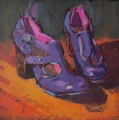 """Shoe Fiend! #6 Purple Booties"" - Original Fine Art for Sale - ©Cathleen Rehfeld"