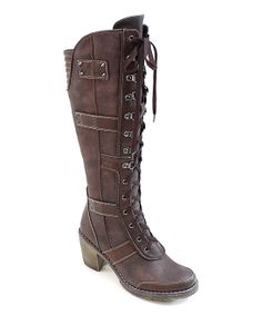 Coffee Lace-Up Combat Boot Zulily