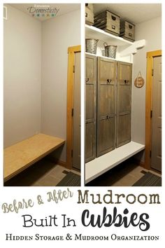 Before and After Mudroom Built in Cubbies - Hidden Storage and Mudroom Organization    From a drab, empty space to gorgeous farmhouse built in storage and shelves    #mudroom #entry #organization #farmhouse #farmhousestyle #farmhousedecor #homeimprovement #homedecor