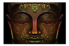 SmartWallArt  Wall Art Bronze Painting Glowing Light Bronze Statu Of Buddhas Face Picture On Canvas Stretched By Wooden frames For Home Decor Or As A Gift >>> Click image for more details.