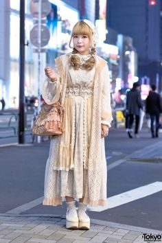Vintage Harajuku Street Style w/ Lace Gown