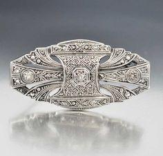 http://rubies.work/0378-sapphire-ring/ Sterling Silver Art Deco Diamond Brooch