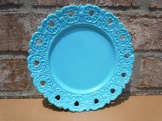 upcycled milk glass plate aqua round vintage by UpcycledWhimsies, $16.00