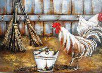 Art by Stella Bruwer white enamel bucket hen chicken straw brooms