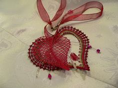 A surprise for Andrea Bobbin Lace Patterns, Lace Heart, Lace Jewelry, Lace Detail, Crochet Earrings, Butterfly, Inspiration, Fabric Art, Mixed Media