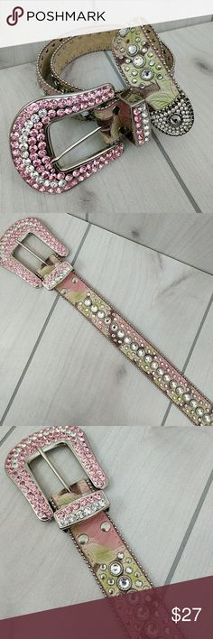 """Genuine leather western belt Pink Green NEW Sz 33 A unique pastel pink and green almost like mossy oak breakup. New without tags. Smoke free. Super sparkly crystals in pink and clear. Measures about 37"""" to the first hole and can be adjusted smaller to last hole at 33.5"""". About 1-1/2"""" wide. Buckle is about 3-1/2"""" x 3-1/4"""". 3D brand. 3D Accessories Belts"""