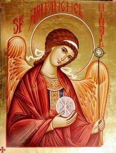 Archangel Michael by Camelia Toma Religious Icons, Religious Art, Byzantine Art, Archangel Michael, Catholic Saints, Angel Art, St Michael, Christian Art, Nativity