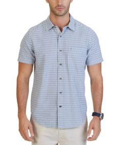 Nautica  Big  Tall Indigo Plaid Short Sleeve Shirt