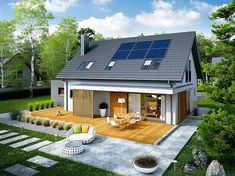 Here you will find photos of interior design ideas. Get inspired! Bungalow Exterior, Cottage Exterior, Style At Home, House Roof, My House, House Construction Plan, Bungalow Extensions, Passive Solar Homes, Rural House