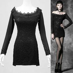 aec813ab65509f Sexy Black Long Sleeve Off the Shoulder Goth Boho Tunic Top Clothing  SKU-11409313 Punk