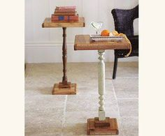 Junkyjoey  Cutting boards + spindles = cute side tables!