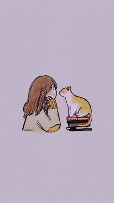 Shared by Lucian. Find images and videos about girl, text and cat on We Heart It - the app to get lost in what you love. Cat Wallpaper, Kawaii Wallpaper, Cute Wallpaper Backgrounds, Wallpaper Iphone Cute, Cute Cartoon Wallpapers, Cartoon Cartoon, Cartoon Kunst, Gravure Illustration, Illustration Art