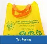 Tas+Furing Produk   Barang promosi dengan bahan kain yang unik. Membantu target audience untuk membawa barang-barang bawaannya.
