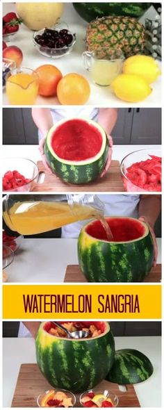 Watermelon Sangria: scoop out watermelon from the rind, cut your fruit, add wine, cut fruit, simple syrup, and let maserate.