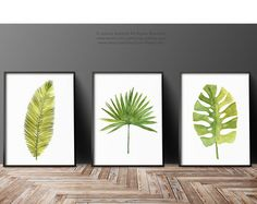 Watercolor Leaf Abstract Wall Decor, Minimalist Modern Painting, Palm Leaves Print Green Wall Decor, Botanical Tropical Art, Plant Poster by ColorWatercolor on Etsy Watercolor Paint Set, Watercolor Leaves, Watercolor Paintings, Original Paintings, Painting Abstract, Abstract Watercolor, Green Wall Decor, Wall Decor Set, Modern Wall Decor