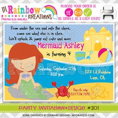 301 DIY  Pretty Mermaid Party Invitation Or by LilRbwKreations, $11.00