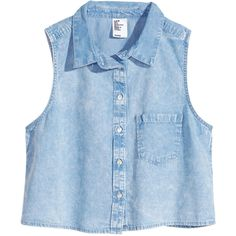 H&M Sleeveless denim shirt ($5.68) ❤ liked on Polyvore featuring tops, shirts, tank tops, crop tops, light denim blue, blue shirt, short crop tops, cropped denim shirt, sleeveless denim top and sleeveless tops