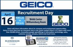 Geico will share information about its company and employment opportunities. Go to ODU Careerlink in order to RSVP to this event: https://odu-csm.symplicity.com/  #oducmc