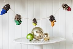 Paint-Dipped Pine Cone Garland | 32 Awesome Things To Make With Nature