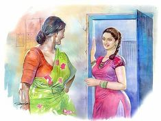 Oil Painting By Numbers Code: 1123187686 Sexy Painting, Woman Painting, Artist Painting, Indian Women Painting, Indian Art Paintings, Digital Paintings, Oil Paintings, Cartoon Girl Drawing, Cartoon Art