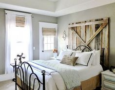 52 Modern Farmhouse Bedroom Furniture Design Ideas , Utilize wall tiles that have floral designs. Instead of choosing crisp, bright shades just like you would in a really modern design, you can want to t. Farmhouse Bedroom Furniture, Farmhouse Style Bedrooms, Farmhouse Master Bedroom, Bedroom Furniture Design, Modern Bedroom, Home Bedroom, Rustic Farmhouse, Bedroom Ideas, Farmhouse Headboards