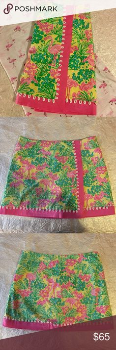 Lilly Pulitzer Pink Flamingo Print Skirt. SZ 6. This preloved and perfect condition Lilly Pulitzer Pink Flamingo Print Skirt is a woman's size 6. Side button zipper. Yellow shorts built into the skirt. Measurements are as follows flat lay. Waist-  Hem-  Length-  Please look at the Lilly Pulitzer website for your size and measurements. Reasonable offers will always be considered. A reasonable offer chart is included in the listing. No trades or low ball offers. Thanks! Lilly Pulitzer Skirts…