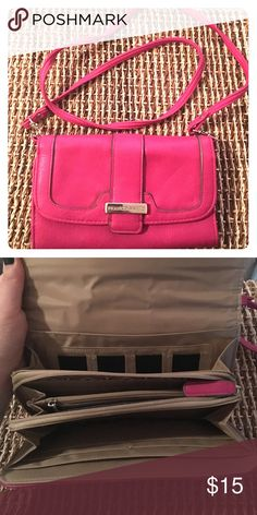 Franco Sarto Crossbody Purse ✨Lightly used✨  💕Pink crossbody bag by Franco Sarto  💕Perfect to add a pop of color to your outfit  💕Has card slots and multiple compartments to fit phone, cash, coins, lipstick, etc!  💕Strap can be removed so bag can be used as a clutch Franco Sarto Bags Crossbody Bags