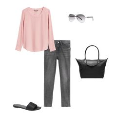 Blush pink top, grey jeans and black slides. Pink Top Outfit, Blush Pink Outfit, Grey Jeans Outfit, Blush Pink Top, Purple Outfits, Fall Outfits, Cute Outfits, Gray Jeans, Comfy Casual