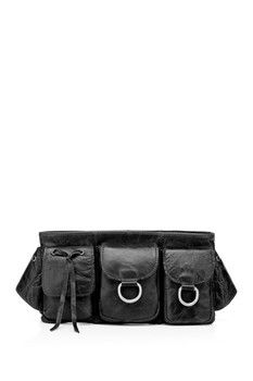 c488a47e2be7d Vicenzo Leather Adonis Leather Waist Purse Black Fanny Pack