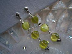 Ohrclips Herzchen in pastell hell grün Katzenauge von kunstpause auf DaWanda.com