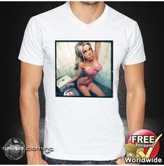 Fc0101 Men's T Shirt V Neck Pink Petals Toilet Size S M L Xl Xxl New Mens Tee 100% Cotton White