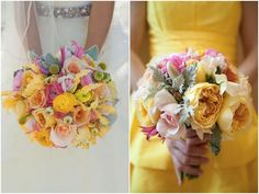 such a pretty colour palette at this wedding ~ sunshine yellow, light grey and a hint of pink!