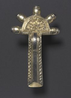 Bow Fibula, 500-550 Frankish, 6th century silver gilt and niello, Overall: 7.70 x 4.50 x 1.10 cm