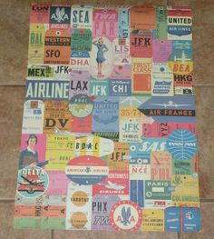 AIRLINES TRAVEL LABELS BAG TAGS POSTER NEW AMERICAN DELTA UNITED TWA FREE S&H