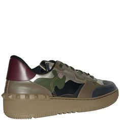 VALENTINO Leather Green Camo Sneakers