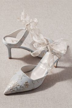 embroidered slip-on blue wedding shoes mule high heels with ribbon straps
