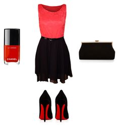 """Outfit verano rojo/negro"" by turbopeka on Polyvore featuring moda, WearAll, Christian Louboutin y Monsoon"